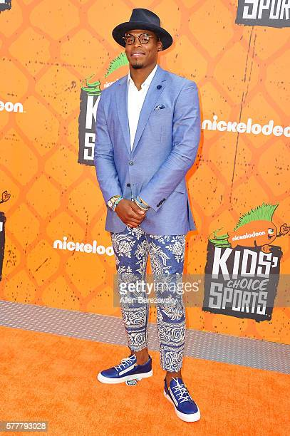 NFL player Cam Newton arrives at the Nickelodeon Kids' Choice Sports Awards 2016 at UCLA's Pauley Pavilion on July 14 2016 in Westwood California