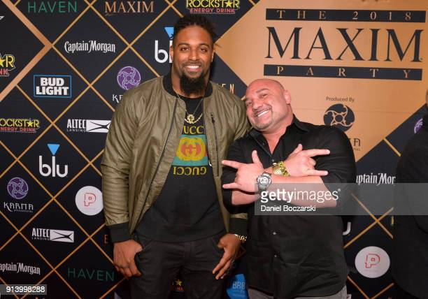 NFL player Cameron Jordan of the New Orleans Saints and sportswriter Jay Glazer attend the 2018 Maxim Party cosponsored by blu February 3 2018 in...