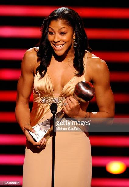 WNBA player Candace Parker accepts the 'Best Female Athlete' award onstage at the 2008 ESPY Awards held at NOKIA Theatre LA LIVE on July 16 2008 in...