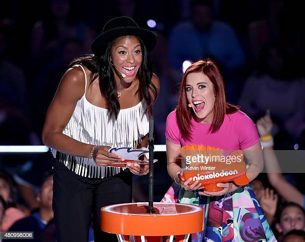 WNBA player Candace Parker and figure skater Ashley Wagner speak onstage at the Nickelodeon Kids' Choice Sports Awards 2015 at UCLA's Pauley Pavilion...
