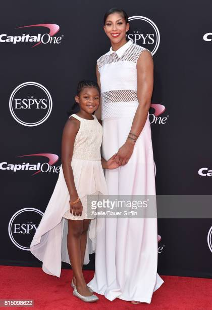 WNBA player Candace Parker and Lailaa Nicole Williams arrive at the 2017 ESPYS at Microsoft Theater on July 12 2017 in Los Angeles California