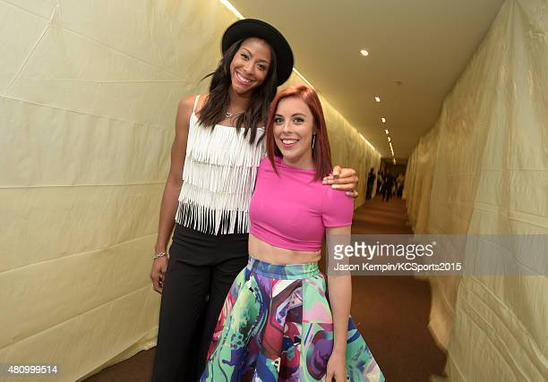 WNBA player Candace Parker and Olympic figure skater Ashley Wagner pose backstage during the Nickelodeon Kids' Choice Sports Awards 2015 at UCLA's...