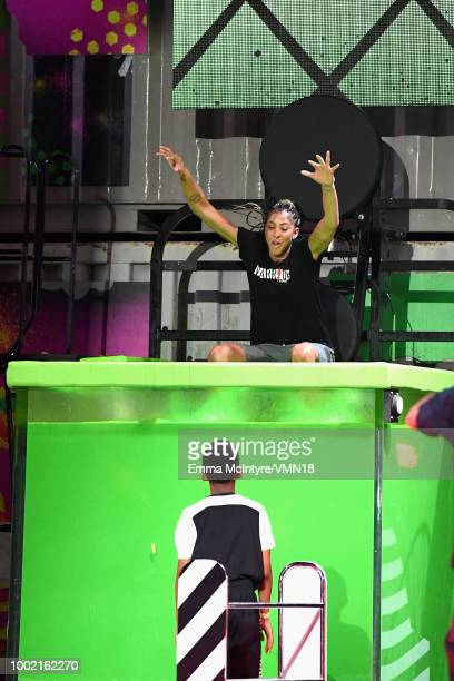 WNBA player Candace Parker gets 'slimed' during the Nickelodeon Kids' Choice Sports 2018 at Barker Hangar on July 19 2018 in Santa Monica California