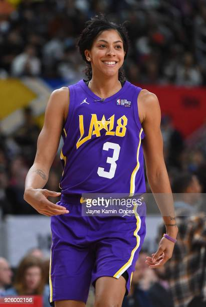 WNBA player Candace Parker in action during the 2018 NBA AllStar Game Celebrity Game at Los Angeles Convention Center on February 16 2018 in Los...