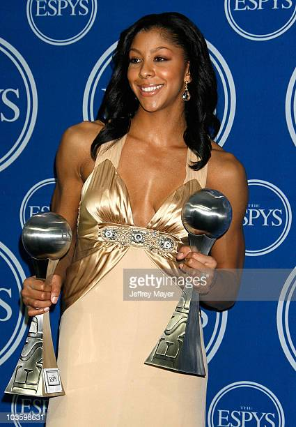 WNBA player Candace Parker poses with her ESPY awards in the press room at the 2008 ESPY Awards held at NOKIA Theatre LA LIVE on July 16 2008 in Los...