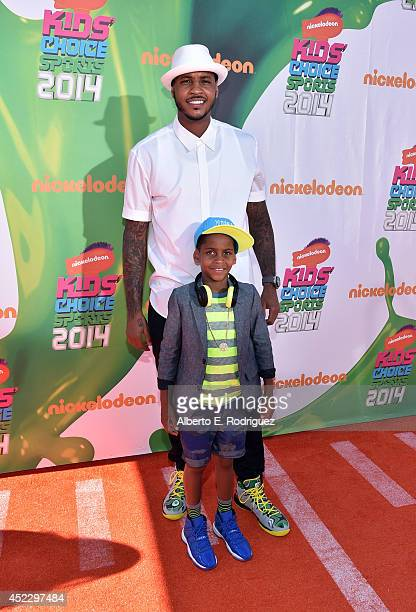 NBA player Carmelo Anthony and Kiyan Anthony attend Nickelodeon Kids' Choice Sports Awards 2014 at UCLA's Pauley Pavilion on July 17 2014 in Los...