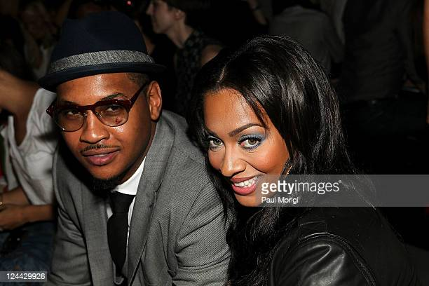 NBA player Carmelo Anthony and LaLa Anthony attends the Rag Bone Spring 2012 fashion show during MercedesBenz Fashion Week at 330 West Street on...