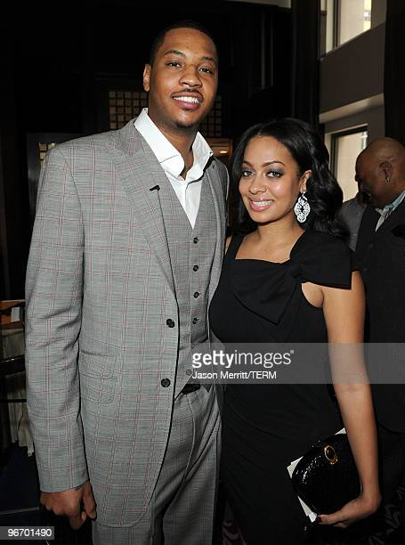 NBA player Carmelo Anthony and TV personality LaLa Vasquez attend the Carmelo Anthony Foundation AllStar brunch held at Hotel Joule on February 14...