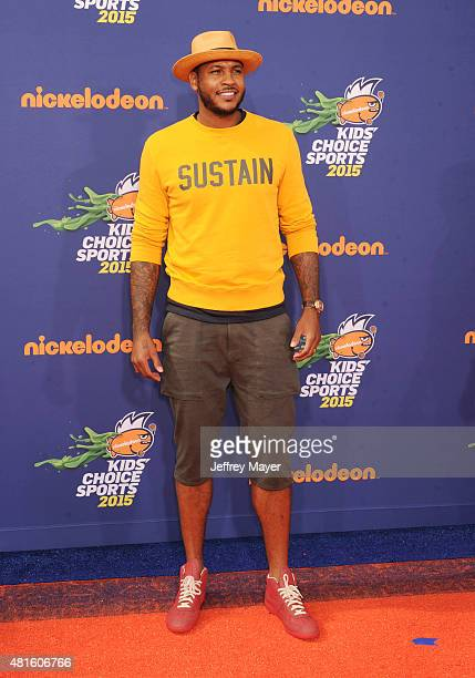 NBA player Carmelo Anthony arrives at the Nickelodeon Kids' Choice Sports Awards 2015 at UCLA's Pauley Pavilion on July 16 2015 in Westwood California