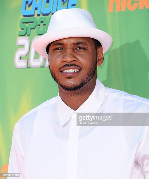 NBA player Carmelo Anthony attends the 2014 Nickelodeon Kids' Choice Sports Awards at Pauley Pavilion on July 17 2014 in Los Angeles California