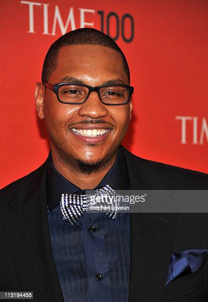 NBA player Carmelo Anthony of the New York Knicks attends the TIME 100 Gala TIME'S 100 Most Influential People In The World at Frederick P Rose Hall...