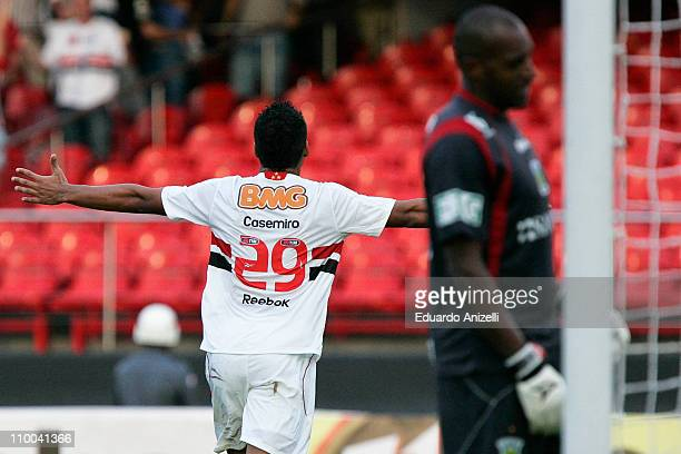 Player Casemiro of Sao Paulo celebrates a scored goal against Santo Andre during a match as part of Sao Paulo State Championship 2011 at Morumbi...