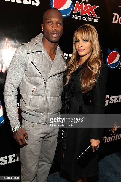 NFL player Chad Johnson of the Cincinnati Bengals and Evelyn Lozada attend the PepsiCo Super Bowl Weekend Kickoff Party featuring Lenny Kravitz and...