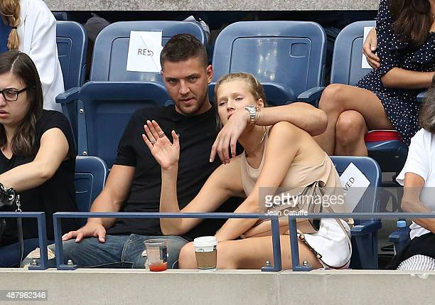 NBA player Chandler Parsons and model Toni Garrn attend the women's final on day thirteen of the 2015 US Open at USTA Billie Jean King National...