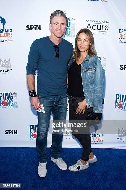 MLB player Chase Utley and Jennifer Cooper arrive at Clayton Kershaw's 4th Annual Ping Pong 4 Purpose Celebrity Tournament at Dodger Stadium on...