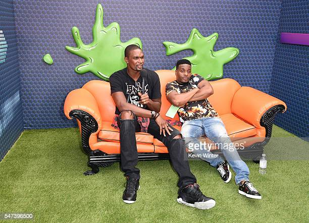 NBA player Chris Bosh and actor Kel Mitchell attend the Nickelodeon Kids' Choice Sports Awards 2016 at UCLA's Pauley Pavilion on July 14 2016 in...