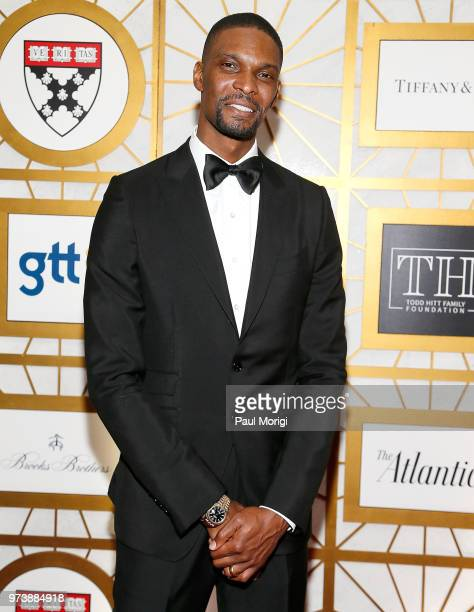 NBA player Chris Bosh attends the Harvard Business School Club's 3rd Annual Leadership Gala Dinner at the Four Seasons Hotel on June 13 2018 in...
