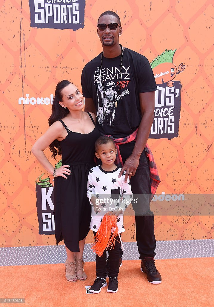 NBA player Chris Bosh, wife Adrienne Bosh and son arrive at Nickelodeon Kids' Choice Sports Awards 2016 at UCLA's Pauley Pavilion on July 14, 2016 in Westwood, California.