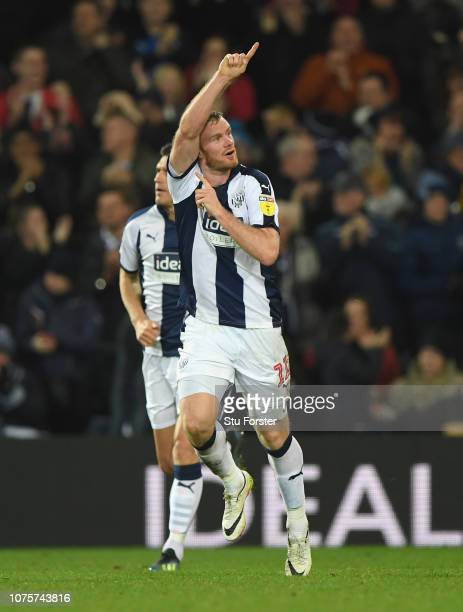 WBA player Chris Brunt celebrates after scoring the late equalising goal during the Sky Bet Championship match between West Bromwich Albion and...