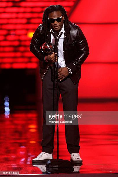 NFL player Chris Johnson wins an award onstage during the 2010 ESPY Awards at Nokia Theatre LA Live on July 14 2010 in Los Angeles California
