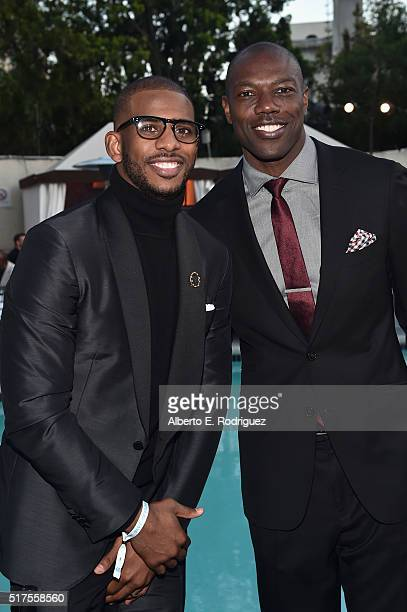 NBA player Chris Paul and former NFL player Terrell Owens attend the CedarsSinai Sports Spectacular at W Los Angeles – West Beverly Hills on March 25...