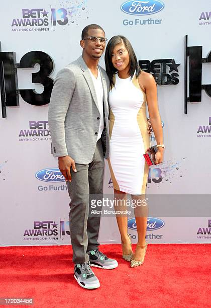NBA player Chris Paul and his wife Jada Paul attend 2013 BET Awards Arrivals at Nokia Plaza LA LIVE on June 30 2013 in Los Angeles California