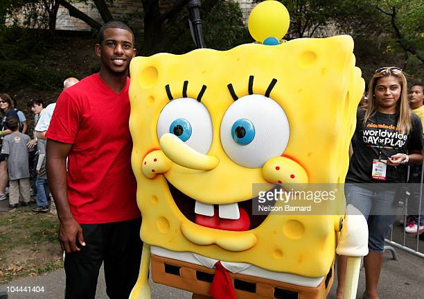 NBA player Chris Paul and Nickelodeon's SpongeBob SquarePants pose during Nickelodeon's Annual Worldwide Day of Play at NYC Big Brothers Big Sisters...