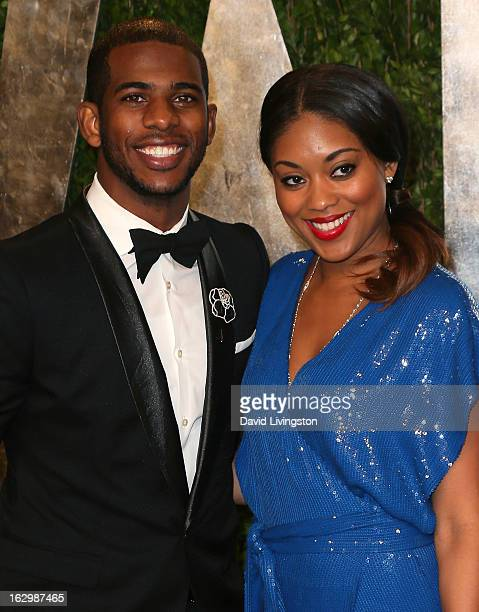 NBA player Chris Paul and wife Jada Crawley attend the 2013 Vanity Fair Oscar Party at the Sunset Tower Hotel on February 24 2013 in West Hollywood...
