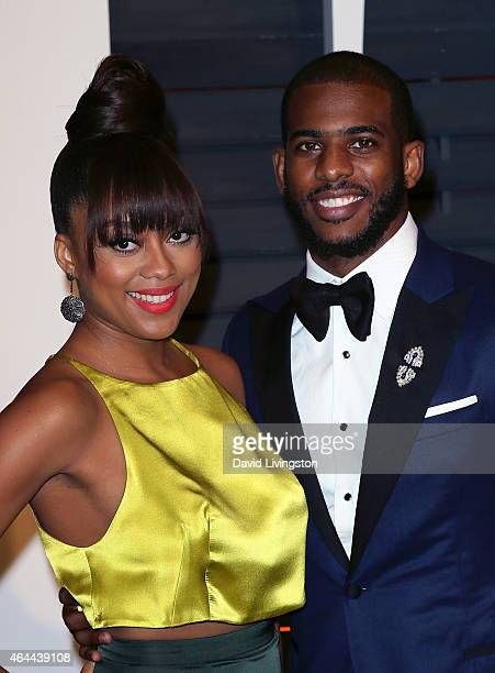 NBA player Chris Paul and wife Jada Crawley attend the 2015 Vanity Fair Oscar Party hosted by Graydon Carter at the Wallis Annenberg Center for the...