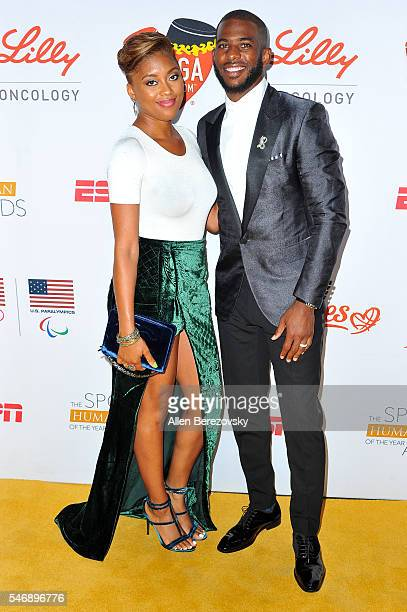 NBA player Chris Paul and wife Jada Crawley Paul attend the 2nd annual Sports Humanitarian of The Year Awards at Conga Room on July 12 2016 in Los...
