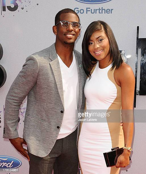 NBA player Chris Paul and wife Jada Paul attend the 2013 BET Awards at Nokia Theatre LA Live on June 30 2013 in Los Angeles California