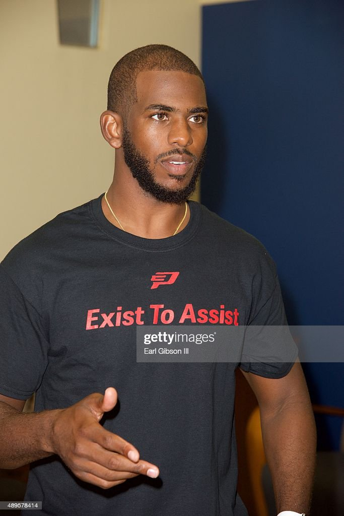 Player Chris Paul attends the Chris Paul Family Foundation's 'Exist to Assist' Community Program Launch at Brotherhood Crusade on September 22, 2015 in Los Angeles, California.