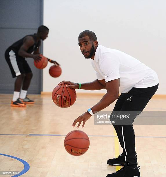 Player Chris Paul during the Basketball Without Borders Africa training at American International School on July 29, 2015 in Johannesburg, South...