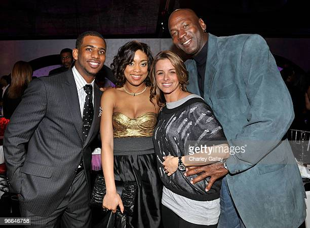 NBA player Chris Paul Jada Crawley Yvette Prieto and Michael Jordan attend the Exclusive FABULOUS 23 Dinner hosted by Jordan Brand during AllStar...