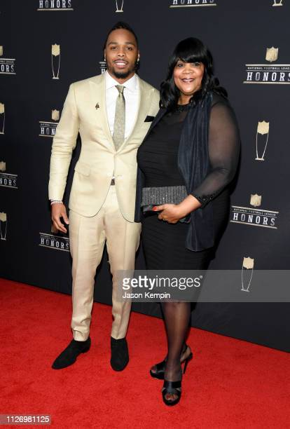 NFL player Christian Kirksey and Patrice Kirksey attend the 8th Annual NFL Honors at The Fox Theatre on February 02 2019 in Atlanta Georgia