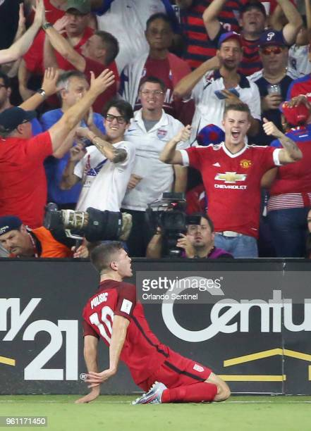 USA player Christian Pulisic celebrates after scoring a goal against Panama during World Cup qualifier match at Orlando City Stadium on Friday Oct 6...