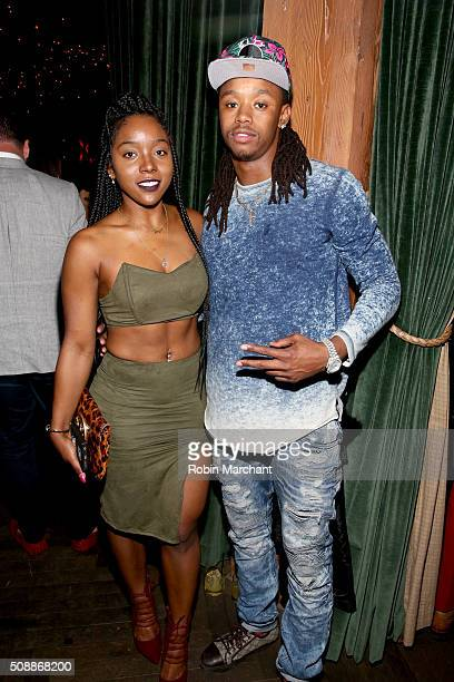 NFL player Chuck Jacobs and Alyssa Wright attend the New Era Super Bowl party at The Battery on February 6 2016 in San Francisco California