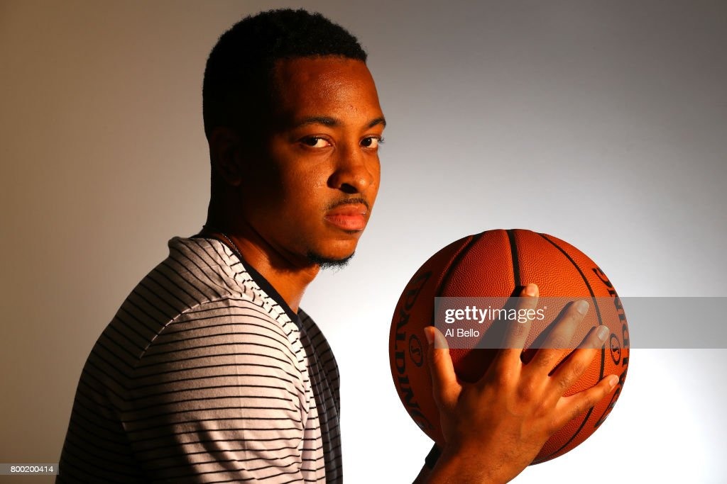 NBA player CJ McCollum poses for a portrait at NBPA Headquarters on June 23, 2017 in New York City.