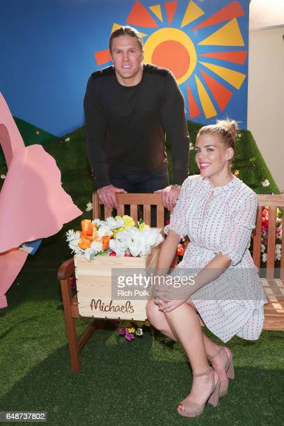 NFL player Clay Matthews III and actor Busy Philipps behind the scenes of Making with Michaels at Stage THIS on March 2 2017 in Sun Valley California