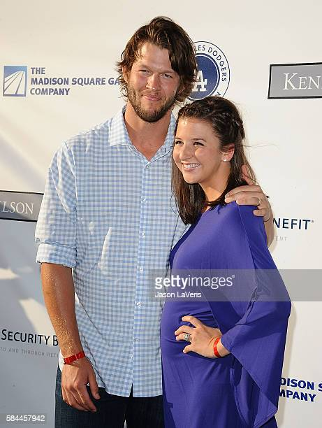 MLB player Clayton Kershaw and wife Ellen Kershaw attend the Los Angeles Dodgers Foundation Blue Diamond gala at Dodger Stadium on July 28 2016 in...