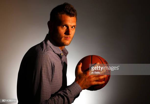 NBA player Cole Aldrich poses for a portrait at NBPA Headquarters on June 23 2017 in New York City