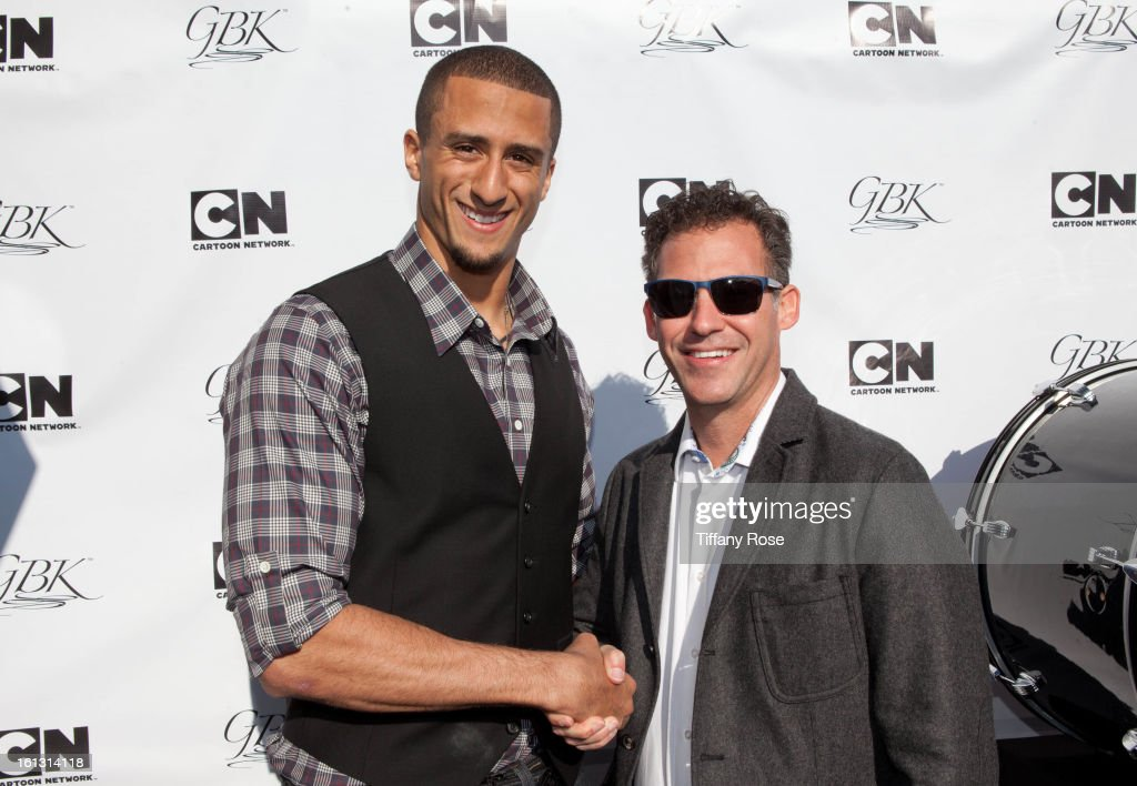 NFL player Colin Kaepernick and Founder of GBK Producions Gavin Keilly attend the GBK & Cartoon Network's Official Backstage Thank You Lounge at Barker Hangar on February 9, 2013 in Santa Monica, California.