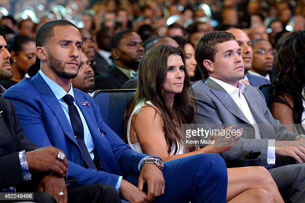 NFL player Colin Kaepernick and NASCAR drivers Danica Patrick and Ricky Stenhouse Jr attend The 2014 ESPY Awards at Nokia Theatre LA Live on July 16...
