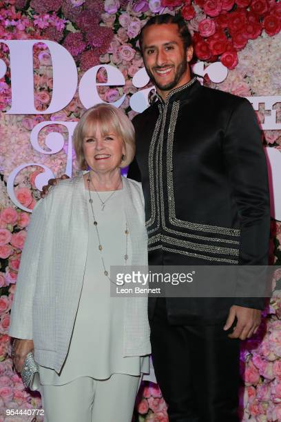 NFL player Colin Kaepernick and Teresa Kaepernick attends the VH1's 3rd Annual 'Dear Mama A Love Letter To Moms' Cocktail Reception at The Theatre at...