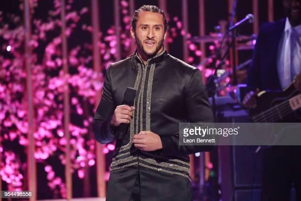 NFL player Colin Kaepernick speaks onstage during VH1's 3rd Annual Dear Mama A Love Letter To Moms Inside Show at The Theatre at Ace Hotel on May 3...
