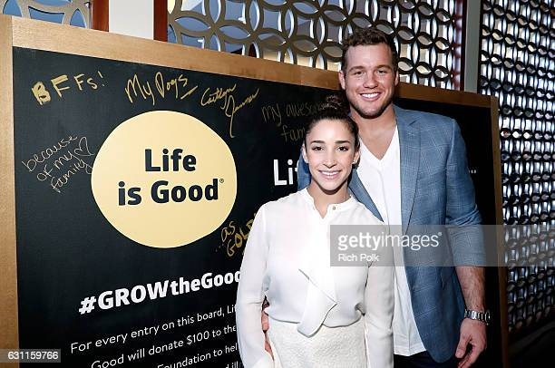 NFL player Colton Underwood and Olympic athlete Aly Raisman attend Life is Good at GOLD MEETS GOLDEN Event at Equinox on January 7 2017 in Los...