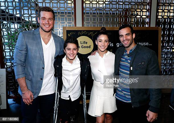 NFL player Colton Underwood Athlete Ezra Frech Olympic athletes Aly Raisman and Danell Leyva attend Life is Good at GOLD MEETS GOLDEN Event at...
