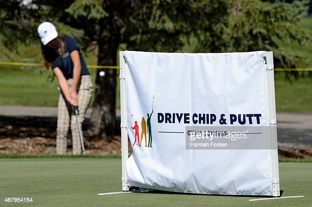 A player competes in the chip at a Regional Finals for 1011 year old girls at the Drive Chip and Putt competition on September 12 2015 at Hazeltine...