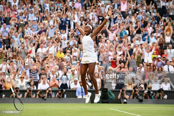 TOPSHOT US player Cori Gauff celebrates beating Slovenia's Polona Hercog during their women's singles third round match on the fifth day of the 2019...