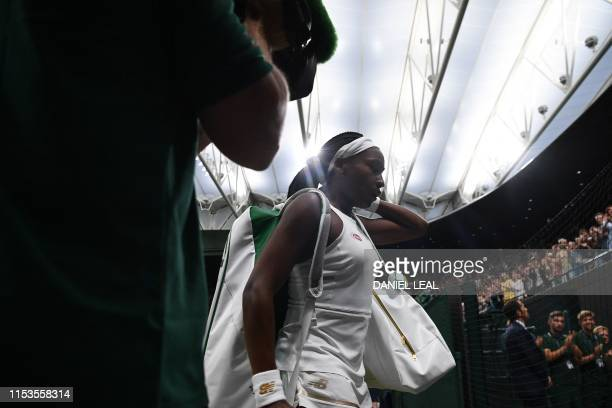 Player Cori Gauff leaves court after beating Slovakia's Magdalena Rybarikova during their women's singles second round match on the third day of the...